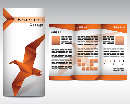 Brochure design with origami bird Illustration
