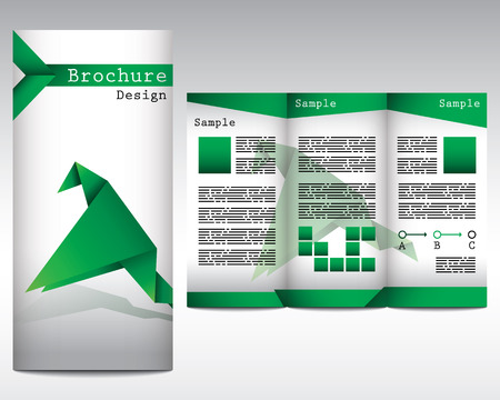Brochure design with origami bird Illustration