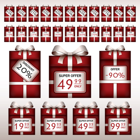 Discount tags on red gift boxes Vector