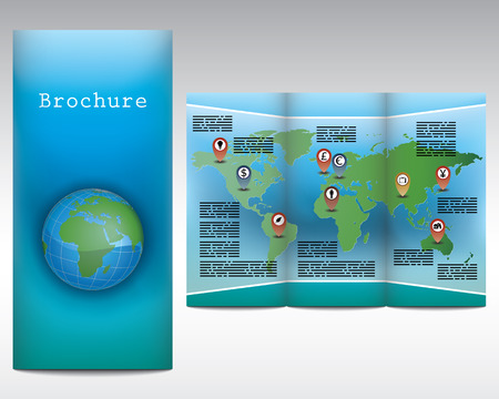 Brochure design with a globe showing Europe, Africa and Asia Illustration