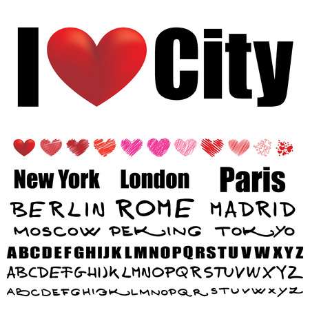 I love creation set with different fonts and many hearts Vector