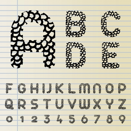 Font set with hand drawn pattern