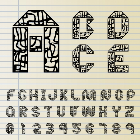Font set with hand drawn pattern Vector