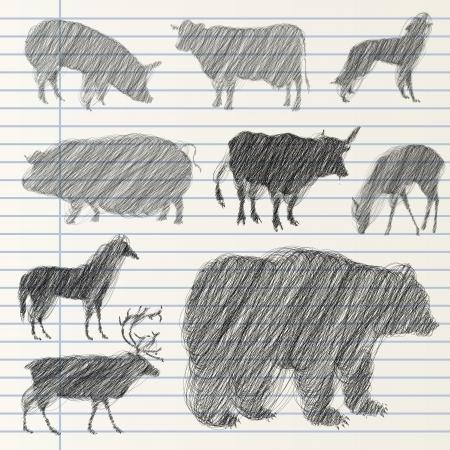 black wolf: Hand drawn animal collection Illustration