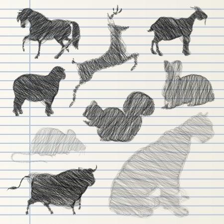 bull pen: Hand drawn animal collection Illustration