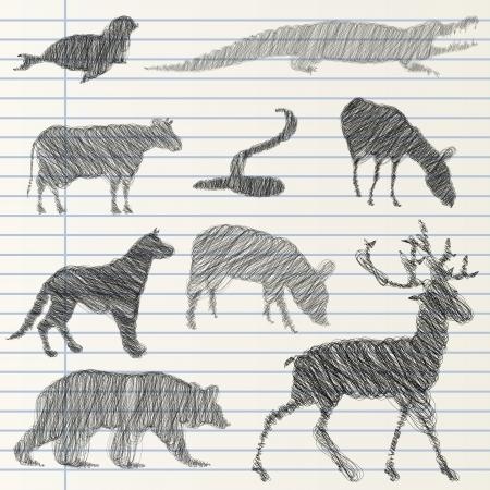 Hand drawn animal collection Illustration