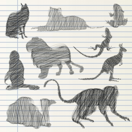 Hand drawn animal collection Vector