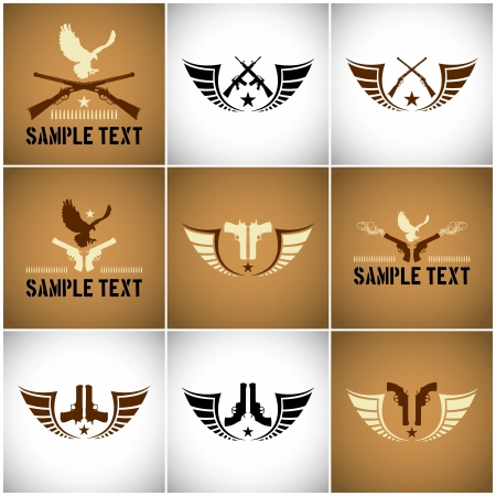 Vector symbols with guns and wings Illustration