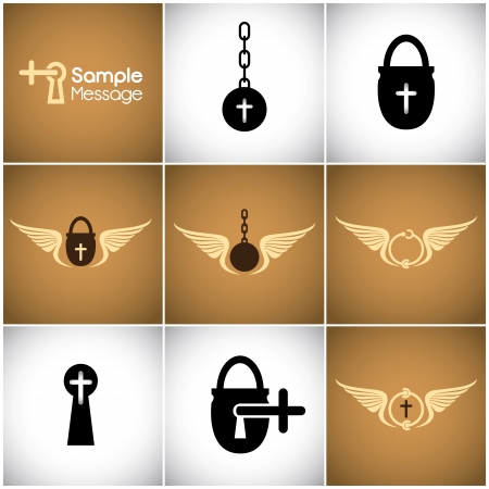 ball and chain: Vector marks related to religion and freedom Illustration