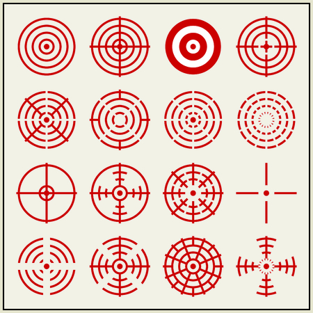 Sixteen vector crosshairs and bullseyes Illustration