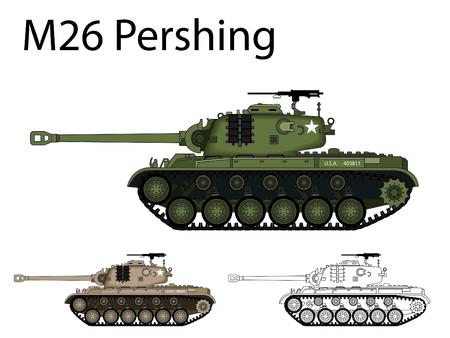 pershing: American WW2 AFV Pershing Illustration