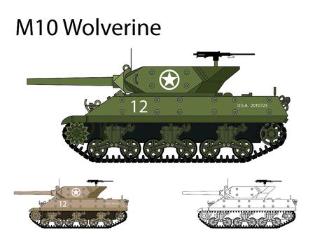 Americano WW2 AFV M10 Wolverine Vectores