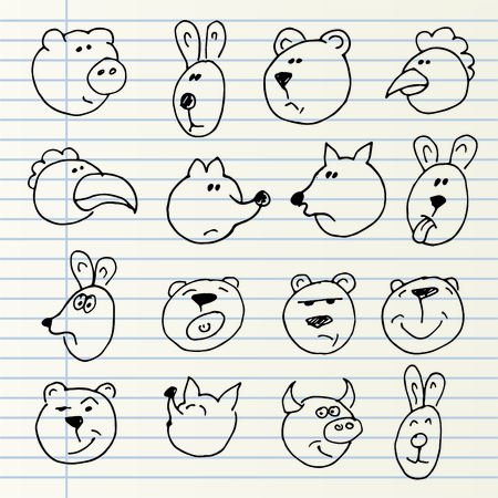 dog pen: Cute hand drawn animal heads isolated on a notebook page