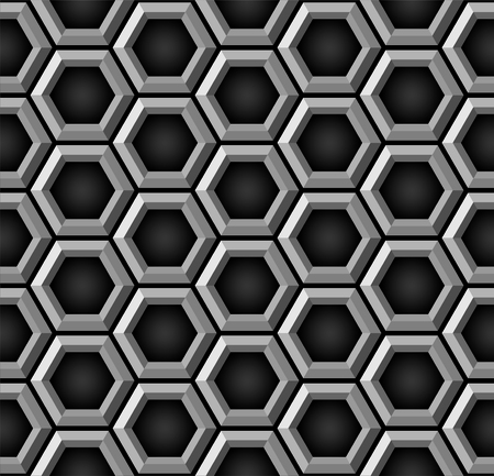 gray matter: Beehive pattern in black - Seamless vector