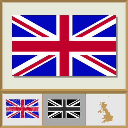 National flag and country silhouette of Great Britain