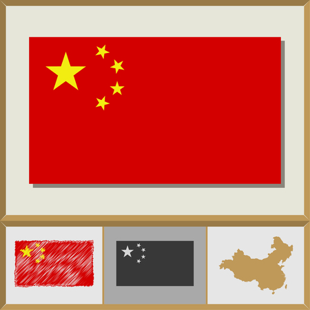 National flag and country silhouette of the People`s Republic of China