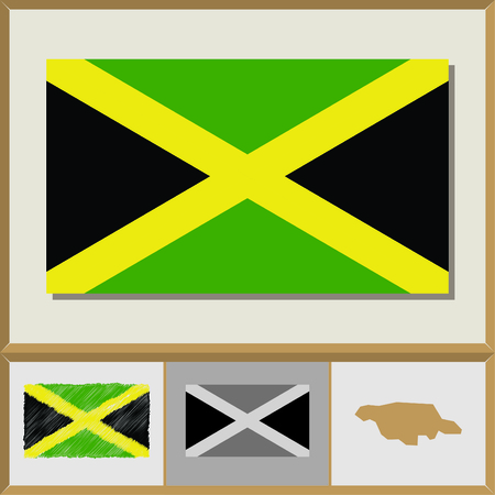 National flag and country silhouette of Jamaica Illustration