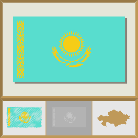 National flag and country silhouette of Kazakhstan