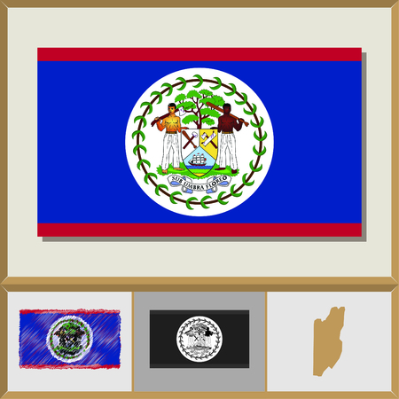 National flag and country silhouette of Belize Illustration