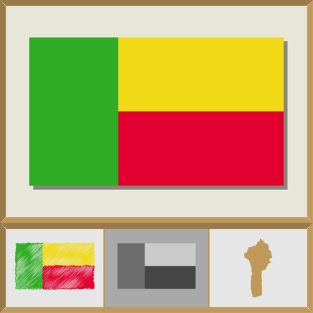 National flag and country silhouette of Benin
