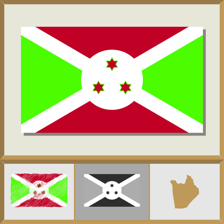 National flag and country silhouette of Burundi Illustration