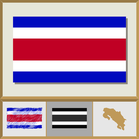 National flag and country silhouette of Costa Rica Illustration