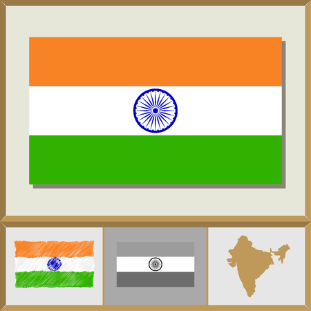 National flag and country silhouette of India