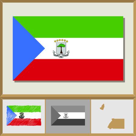 National flag and country silhouette of Equatorial Guinea