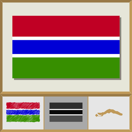 National flag and country silhouette of Gambia
