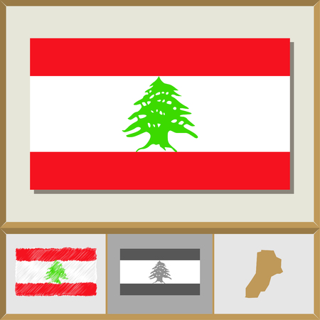 lebanese: National flag and country silhouette of Lebanon