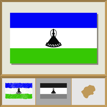 National flag and country silhouette of Lesotho