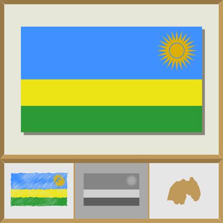 kigali: National flag and country silhouette of Rwanda