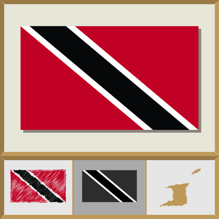 trinidad and tobago: National flag and country silhouette of Trinidad and Tobago Illustration