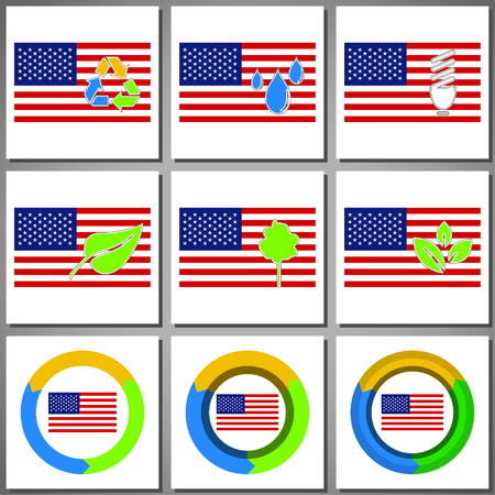 Eco friendly marks and icons with country flag