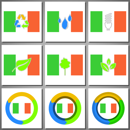 arrow circles: Eco friendly marks and icons with country flag. Illustration