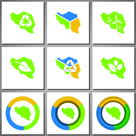 Eco friendly marks and icons with country silhouette