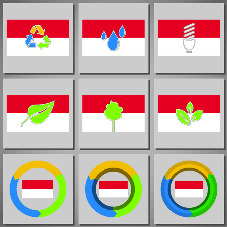 arrow circles: Eco friendly marks and icons with country flag
