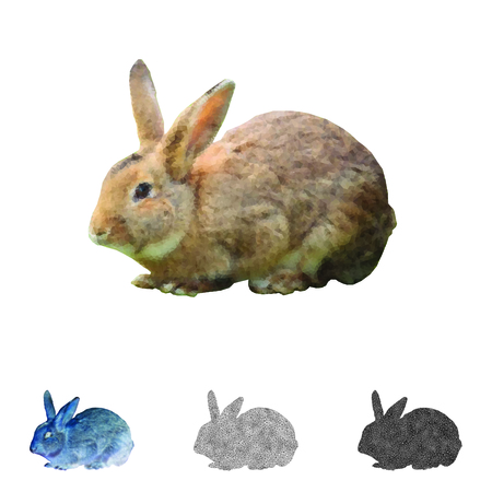 Rabbit created with polygonal shapes Illustration