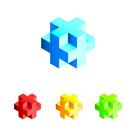 3D cubes in different colors Illustration