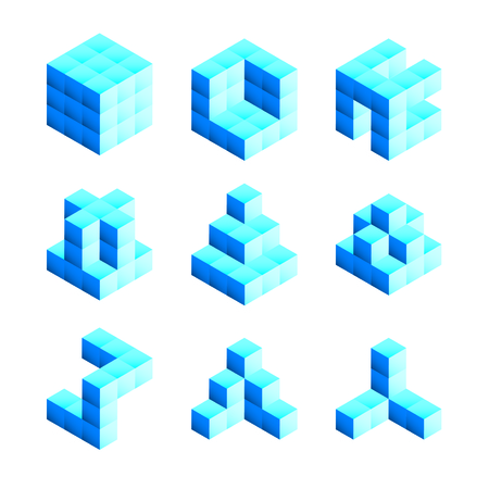 created: 3D shapes created from building blocks Illustration