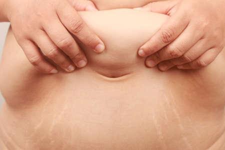 paunch: paunch fat person Stock Photo