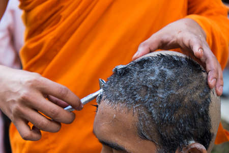 ordination: The ordination ceremony of a monk Stock Photo