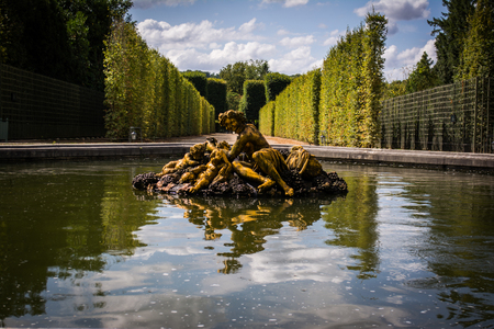 louis the rich heritage: Golden Statue Reflection in Green Versailles Garden