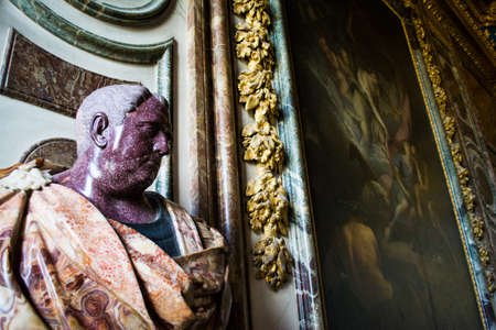bust: Speckled Red Marble Bust in Versailles Palace