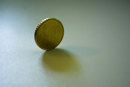 unc: 50 Euro Cent Coin Standing on Edge