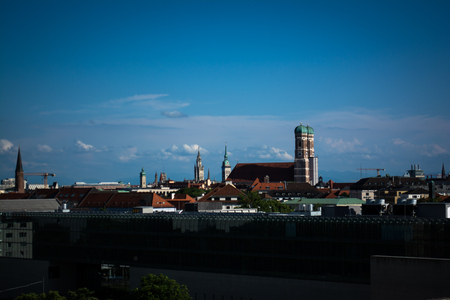 frauenkirche: Skyline with Frauenkirche in Munich, Germany Stock Photo