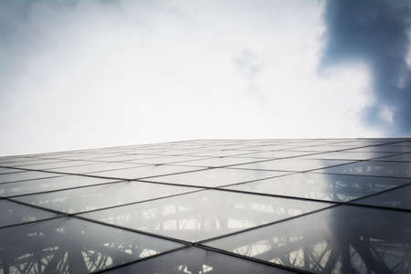 louvre pyramid: Sky Reflection on the Glass of the Louvre Pyramid in Paris