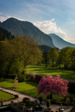 expanse: Warm Afternoon Mountain Landscape in Tirol Stock Photo