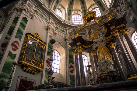 jesuit: Golden, Impressive Decorated altar of the Jesuit Church, Mannheim Germany