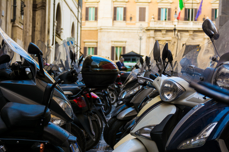 mopeds: Italian Transportation Scooters Mopeds Parked Together Rome